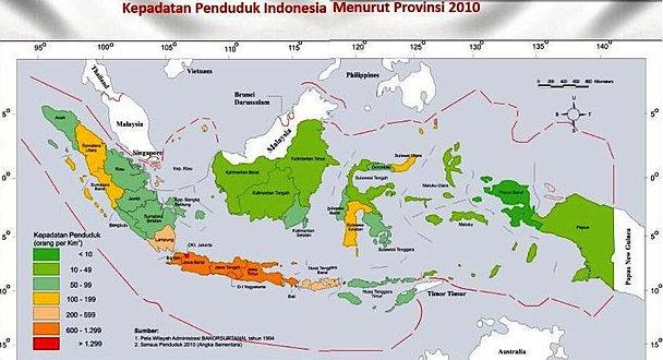 Peta kepadadatan penduduk di Indones