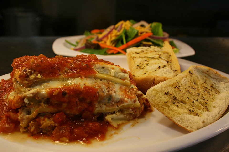 Eggplant Lasagna with Garlic Bread & Salad