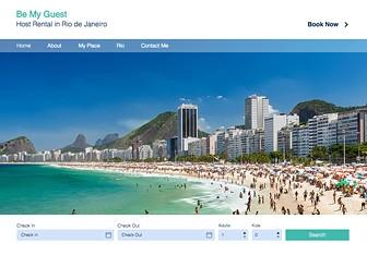 Ferienapartment in Rio Template - Beherbergern Sie Gäste aus der ganzen Welt mit dieser stilvollen Hotelvorlage! Ändern Sie die Texte, laden Sie Fotos von Ihrer schönen Wohnung hoch und laden Sie Besucher dazu ein, Ihre Wohnung zu mieten. Mit dem Buchungssystem Wix Hotels können Sie verfügbare Zimmer festlegen, wichtige Infos hinzufügen und die Zahlungsmethode wählen. Starten Sie jetzt und verwandeln Sie Ihre Wohnung in das perfekte Hostel!