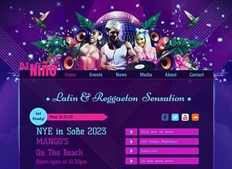 Latin-DJ Template - Präsentieren Sie Ihre Beats in den lebendigen Farben und dem dynamischen Design dieser kostenlosen Vorlage. Kündigen Sie Events an und laden Sie Songs und Videos als musikalische Kostprobe für Ihre Besucher hoch. Gehen Sie mit Ihrer Website online und zeigen Sie, was Sie drauf haben!