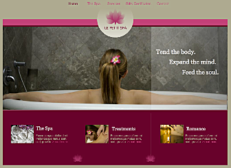 Le Petit Spa Template - Create a visual spa for your website visitors with this relaxing yet invigorating template. Soothing stone-like colors mixed with bold, feminine accents present the perfect fun place for your customer to reserve a day at your spa or salon.