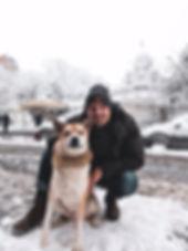 Lucas Bérullier avec son chien Bruce