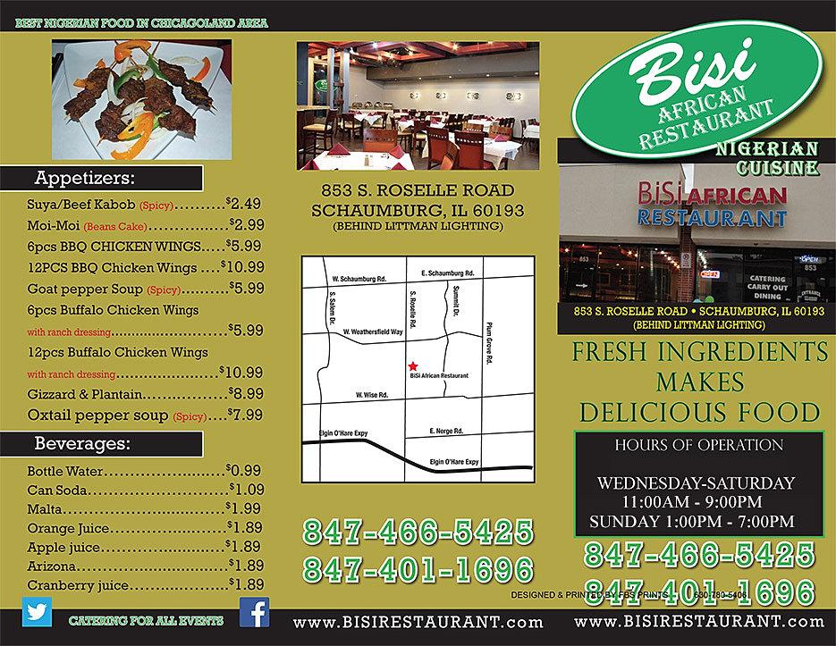 Bisi african restaurant menu for African cuisine menu
