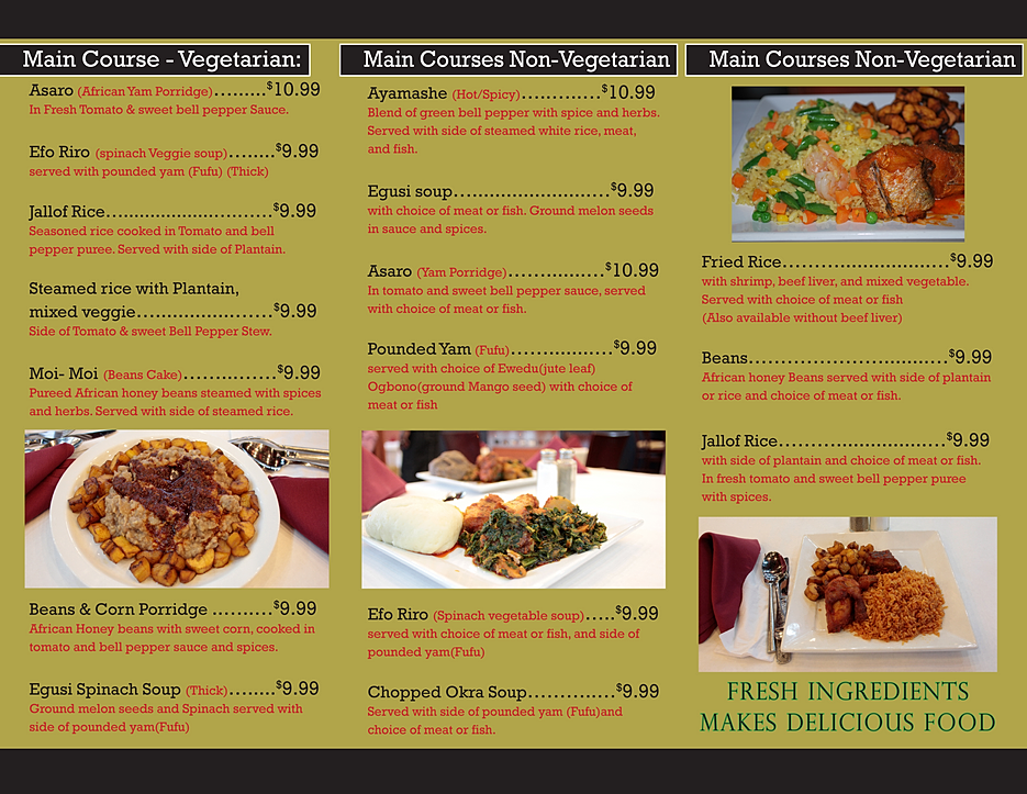 Bisi african restaurant chicagoland menu for African cuisine menu