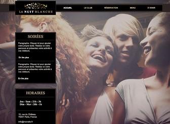 Boîte de Nuit Template - Conçu pour les clubs, bars et restaurants, ce site web sexy est à la fois tendance et cool. Personnalisez-le et invitez les visiteurs à réserver, parcourir le menu et découvrir les événements à venir. Créez une galerie photo pour partager les moments forts jusqu'au bout de la nuit !