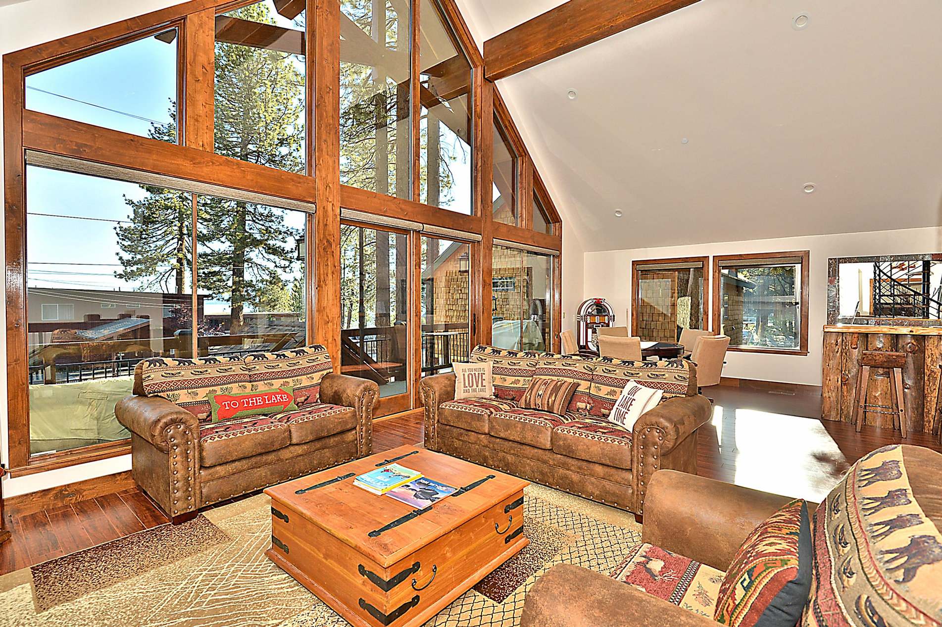 tahoe picturesque located home west index pine in shore sugar with private the orig cabin s rental offers lake on tahoma town cabins bedrooms our and of door a point loft