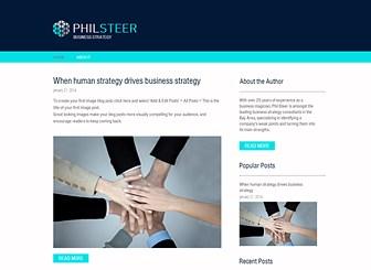 성공시대의 경영전략 블로그 Template - 전문 경영인들을 위한 블로그에 적합한 이 템플릿으로 경제 및 주식 비즈니스 관련 홈페이지를 제작하세요. 신뢰감 있는 블로그를 위해 소개 페이지에 블로거의 경력을 공개하고, 업계 뉴스를 업데이트하세요.