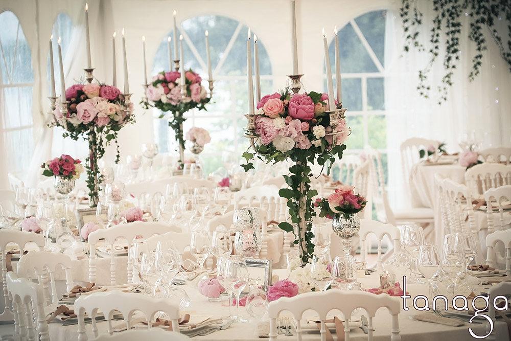 Decoration de mariage, composition florale, centre de table mariage ...