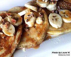 Banana, Nuts, & Caramel Pancakes