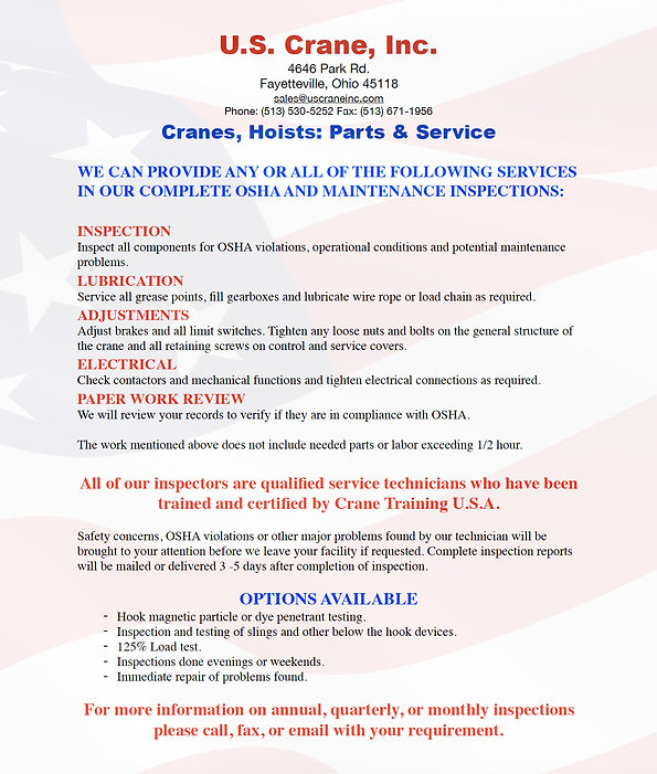 US Crane Inspection