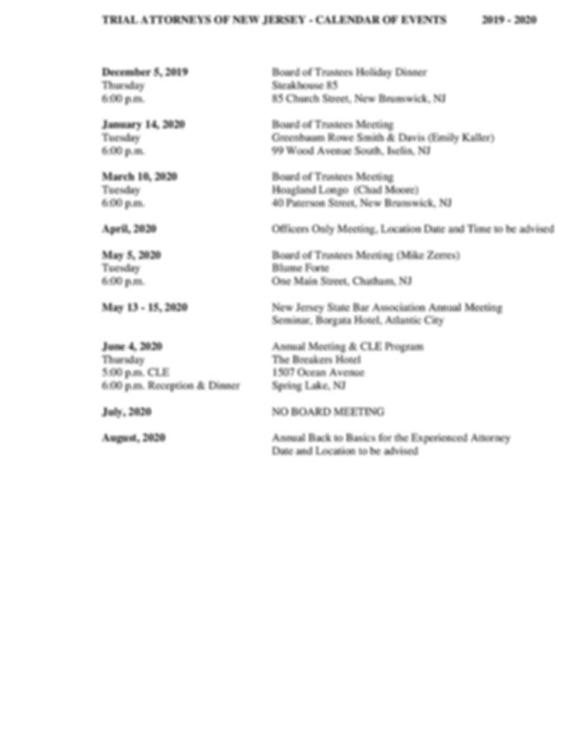 TANJ CALENDAR OF EVENTS 2019-2020     2