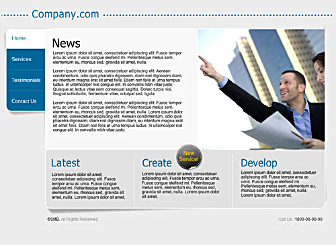 Company Com Template - Present your business to the international crowd with this conservative and tasteful web design. Flash navigation is simple and clean. No unnecessary fuss and just the right amount of room for all your business information.