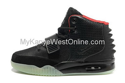 Cheap Nike Air Yeezy II Men Shoes Black Red