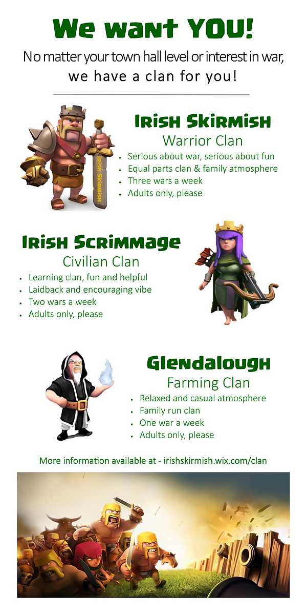 Level 7 Adult War Clan (and family of Irish Clans) - looking for players  for war
