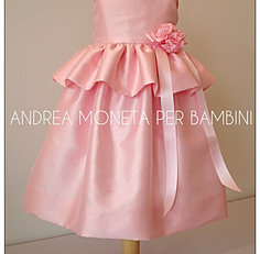169 Vestido Rosa Bebe Niña  Pink Dress for Baby or Girl Andrea Moneta Per Bambin