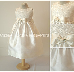 160 LF Vestido Shantung Bordado Bebe Niña Ivory Dress For Baby or Girl Andrea Mo