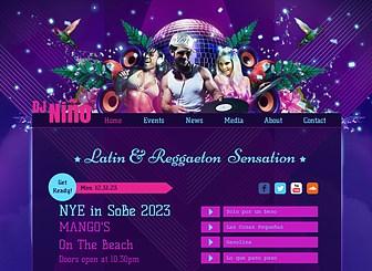 DJ latino Template - Promueve tu ritmo con los colores vibrantes y diseño intenso de esta plantilla web gratis. Promociona eventos y sube pistas y videos para que los visitantes descubran tu estilo. Lanza tu sitio y ¡que comience la fiesta!