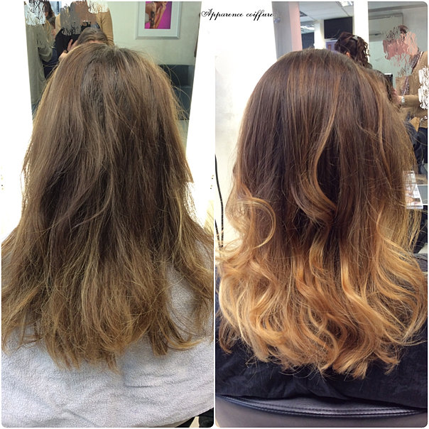 Apparence coiffure avant apr s - Tie and dye caramel ...