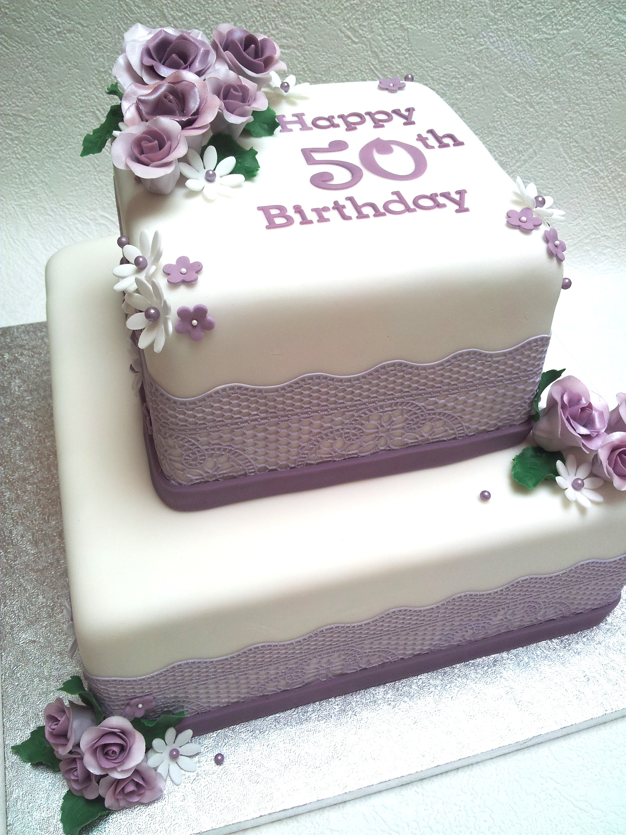 Birthday Cake Designs In Square : Sweet Tracey Cakes Purple roses 50th birthday cake lace ...