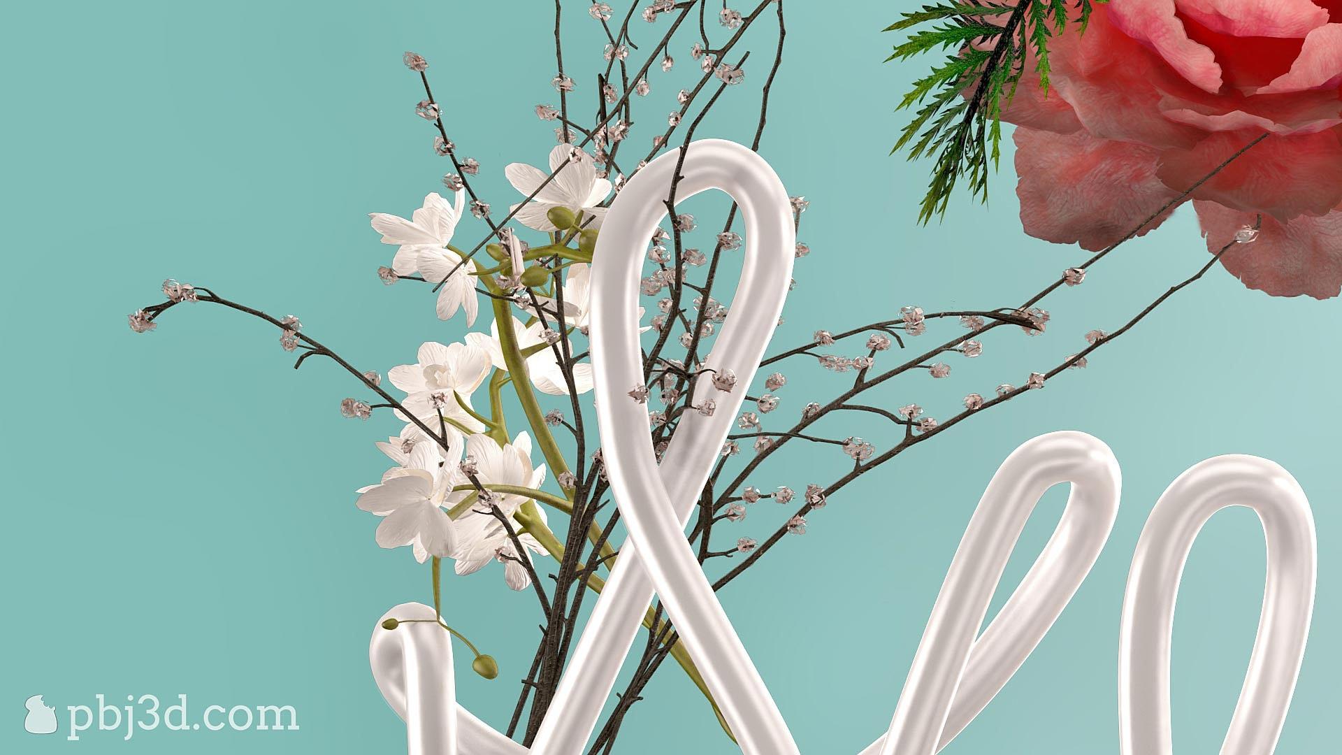 Color art tipografia - 3d Typography Lettering Tipografia Poster Print Art Flowers
