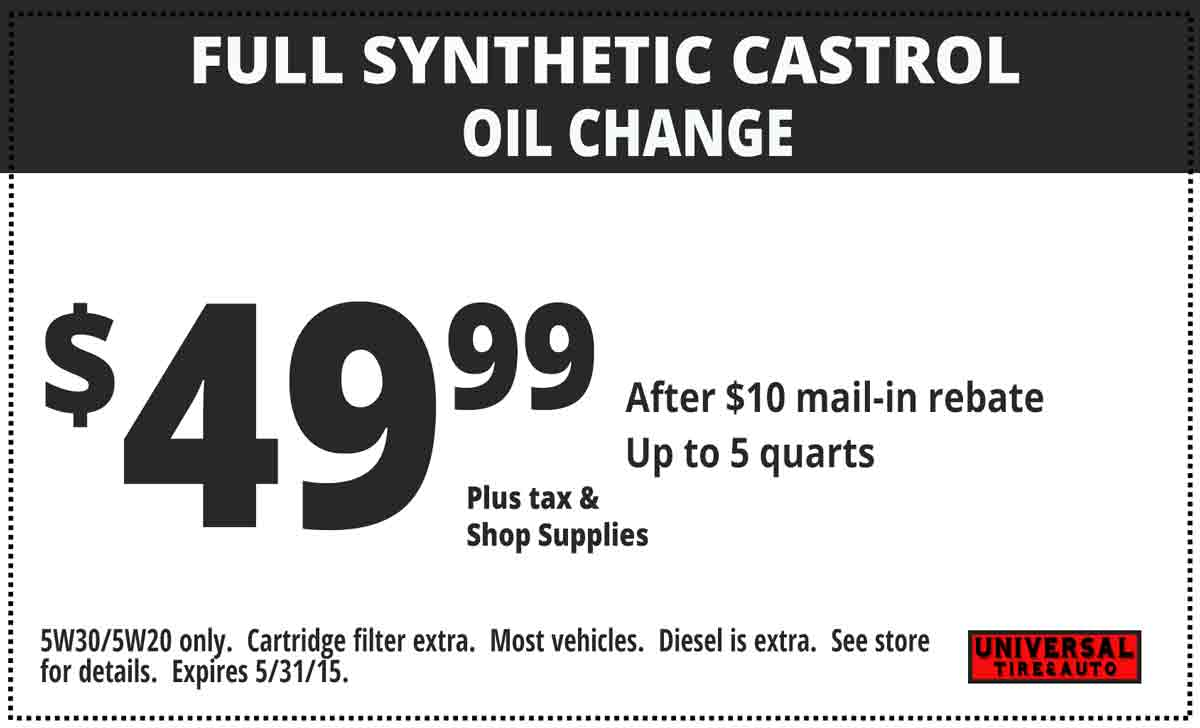 Synthetic blend oil change coupons