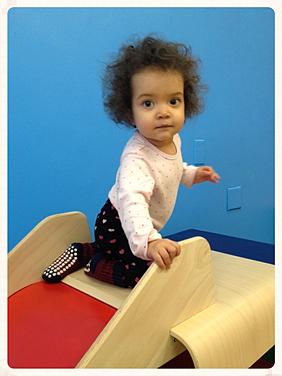 Having fun on the slide!