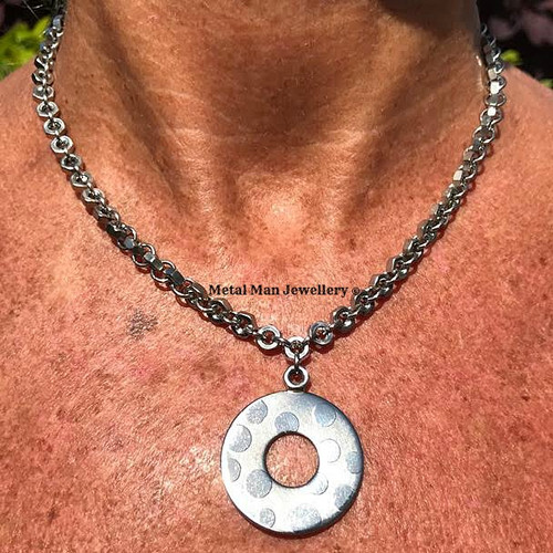 Metal man jewellery stainless steel jewellery made with nuts and we etched washer pendant on hex nut chain aloadofball Choice Image