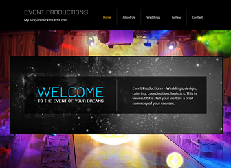 Events Production Template - Set your event planning business apart with the dynamic design and vibrant colors of this free template. Upload photos and edit text to promote your services and showcase your talents. Customize the color scheme and layout to create a professional website that expresses the energy of your events.