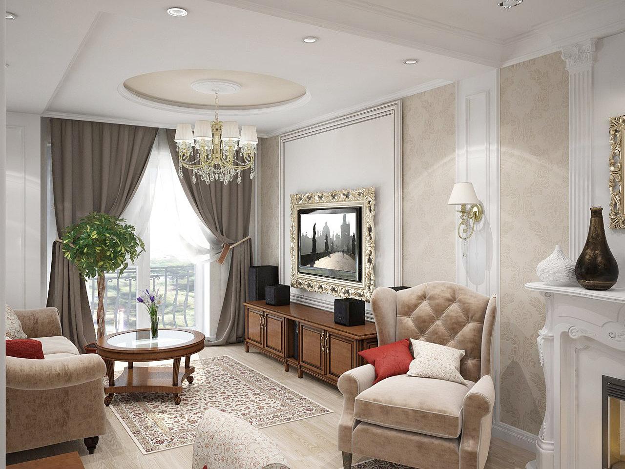Дизайн интерьера гостиной комнаты в классическом стиле фото
