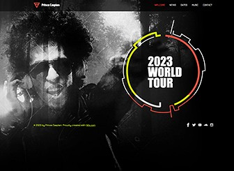 DJ Electronica Template - An electrifying website featuring dynamic graphics and a slick layout. This is the perfect place for fans to check out your tracks, watch your newest videos, and learn about upcoming events. Customize the design and color scheme to match your performance style.