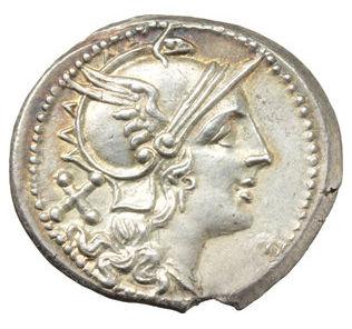 99.1% pure silver Roman Republic Denarius after 211 B.C.