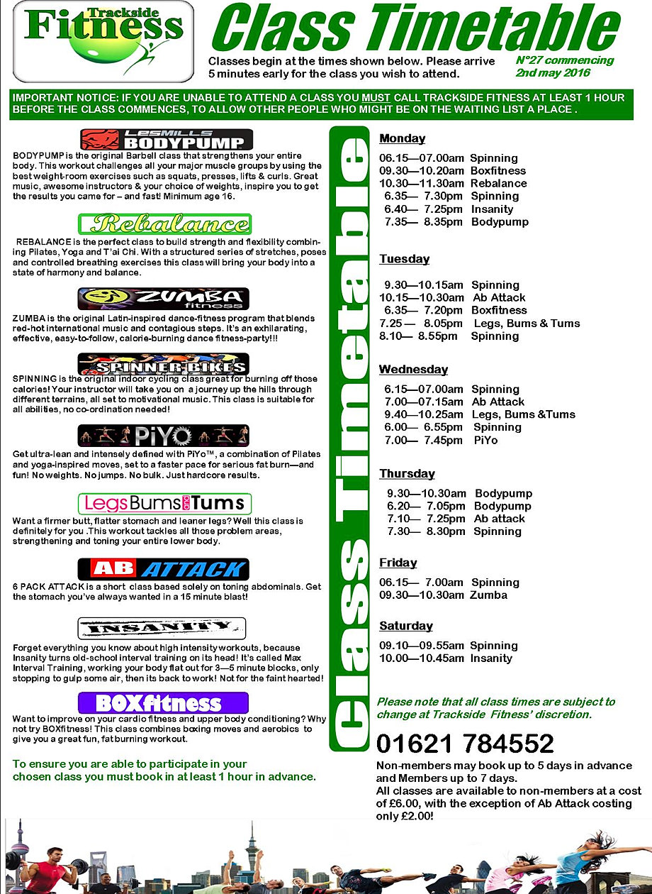 Trackside fitness timetable tanning salon for Table 85 hours