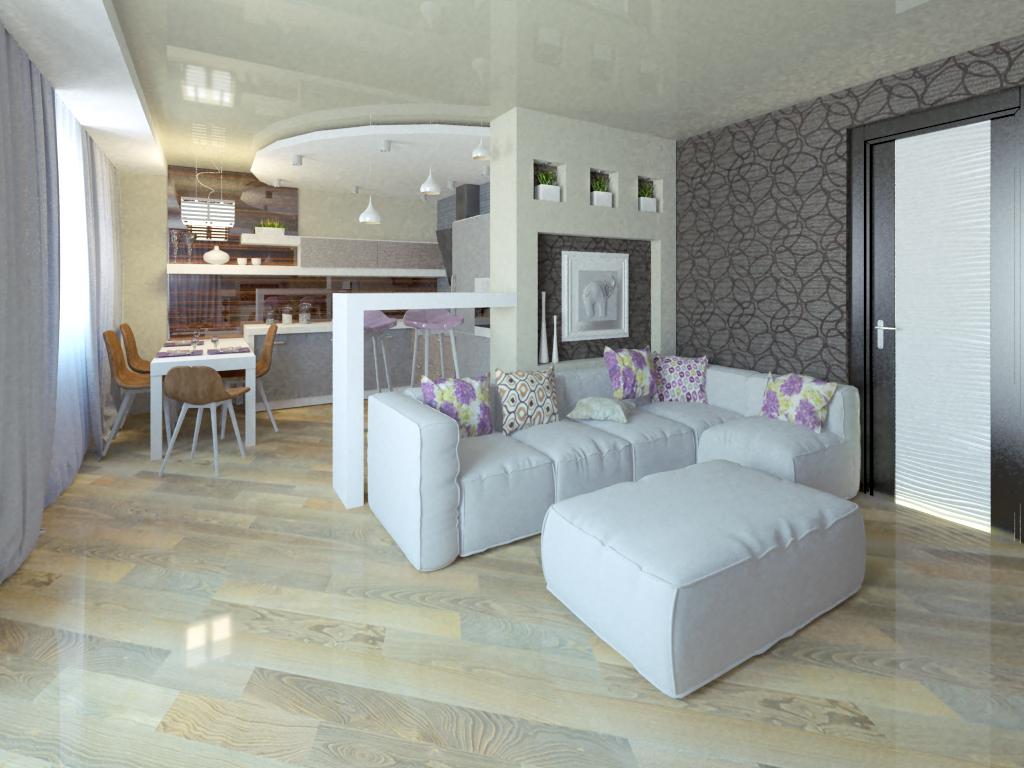 Дизайн проект кухни-гостиной 20 кв.м