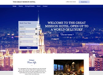 City Hotel Template - A bright and hip template for your contemporary urban getaway. Fresh colors and choice photography highlight your hotel's unique vibe. Use the booking app to post rates and amenities and upload photos of your rooms to give your guests the ultimate booking experience.