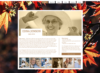 Memorial Template - Cherish the memory of a loved one with this website template. Add text to recount his or her unique story and upload photos to share happy times with friends and family. Customize the color scheme and design to suit the memory of the person whose life you are celebrating.