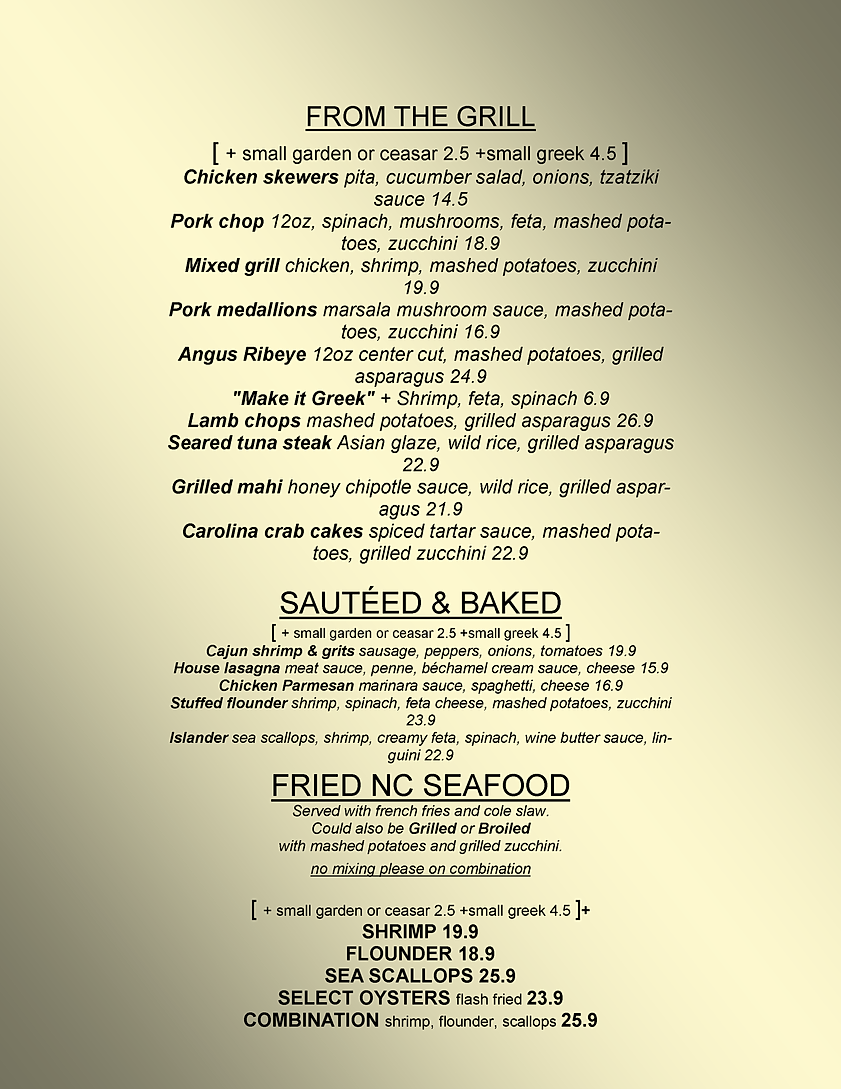 Red fish grill menu morehead city nc for Fish city grill menu