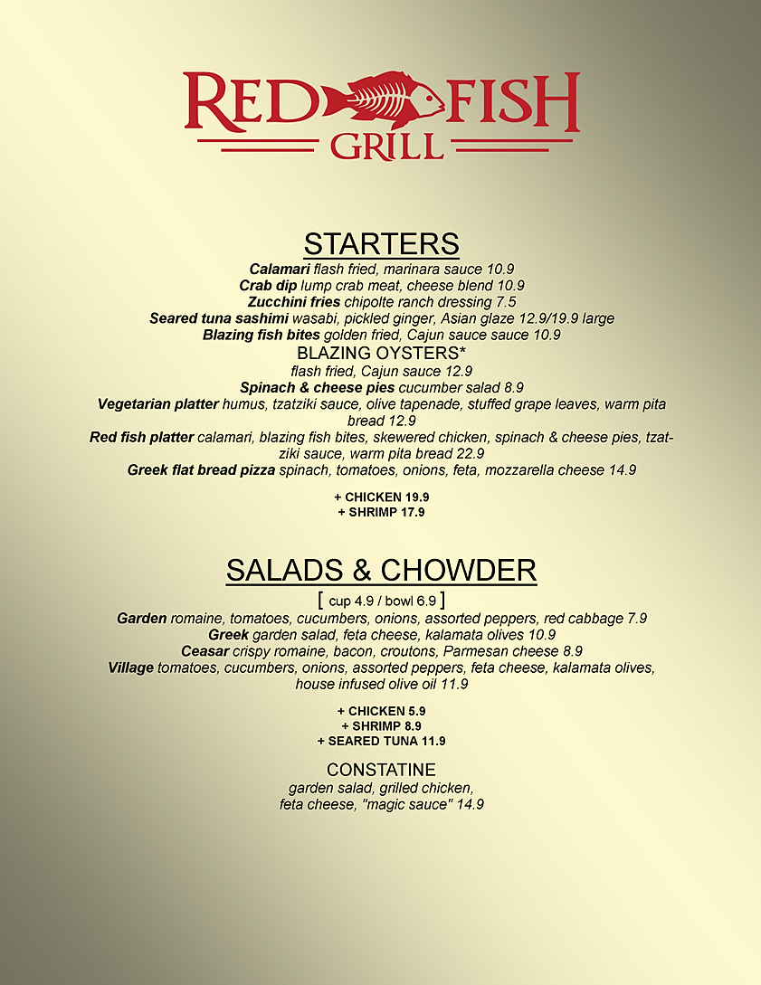 Red fish grill menu morehead city nc for City fish menu