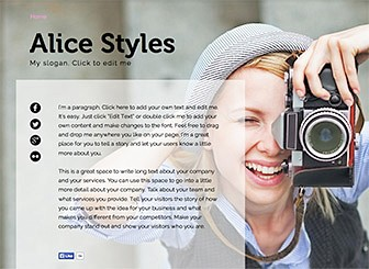 1 pager bio website template wix for Photography bio template
