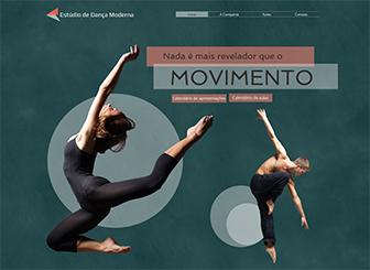 Estúdio de Dança Moderna Template - Promova sua companhia de dança ou estúdio com este template elegante e contemporâneo. Faça upload de imagens e vídeos para mostrar seus talentos e personalize o texto para promover aulas e eventos futuros. Comece a editar para dar o salto online!