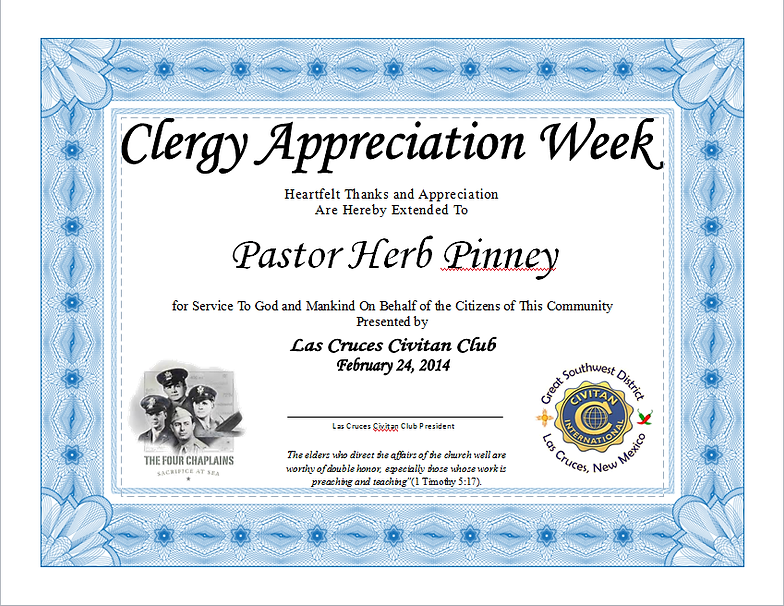 Las cruces civitan club club meetings sample certificate of appreciation given to our honored clergy guests yelopaper Choice Image