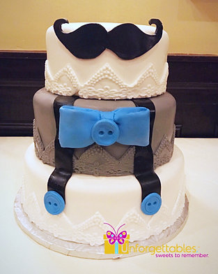 Bow Ties And Mustaches Baby Shower Cake