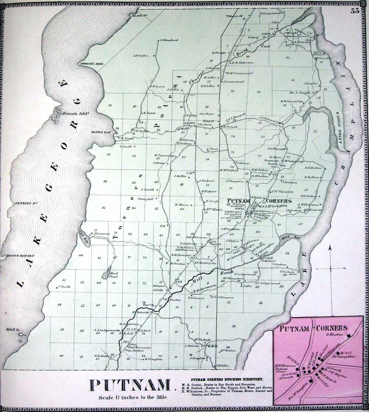 putnam station Lake george, crow point, indian point,gull bay, glenburnie, black point, huletts, putnam station, hague, rogers rock, new york.