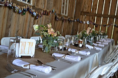A table setting in the barn