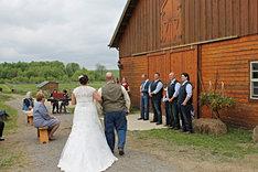 A ceremony down at the horse barn