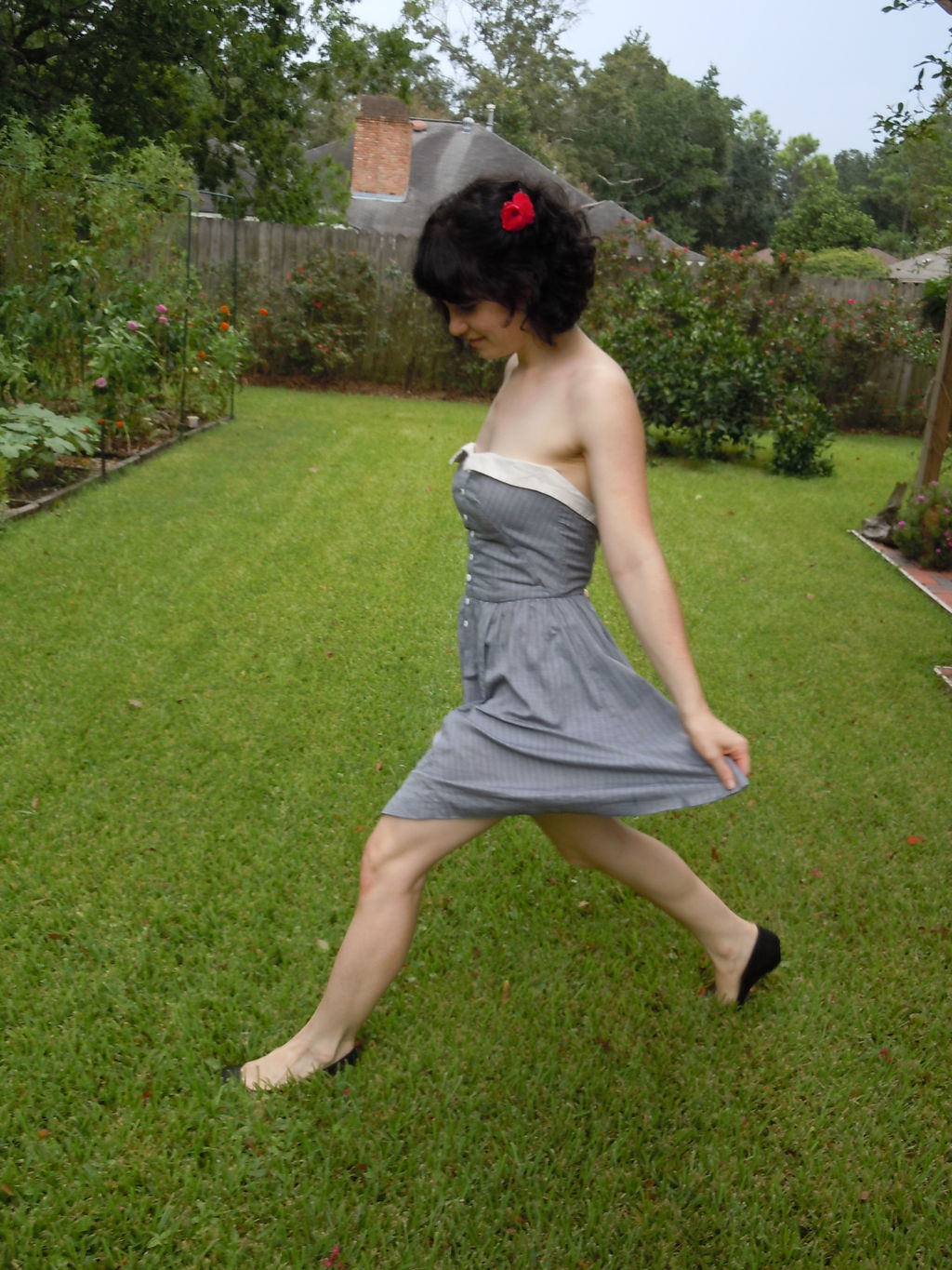 strapless grey light weight cotton dress with button placket