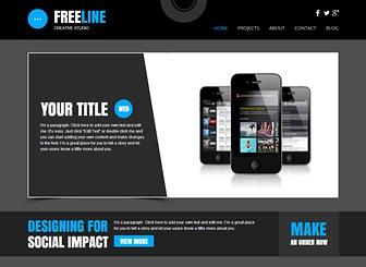 Web-Studio Template - Crea un sito all'ultima moda per la tua agenzia di design o studio creativo usando questo template audace. L'ampio spazio per il testo e le foto ti permette di mostrare i tuoi progetti in dettaglio. Inizia a modificare per promuovere il tuo talento!