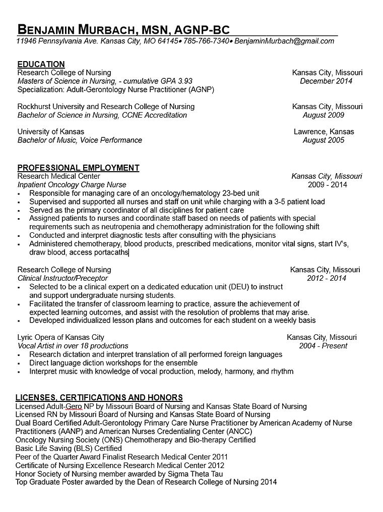 benjamin murbach - Nurse Practitioner Resume