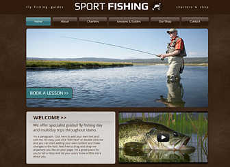 Fly Fishing Template - Featuring earthy colors and no-fuss design, this free template awaits your outdoor recreation business. The generous space for both text and images allows you to describe your services while offering visitors a glimpse of the adventure that awaits them.