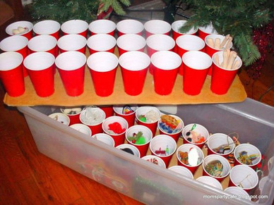 ornaments in red solo cups
