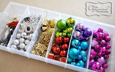 ornaments in a plastic bin